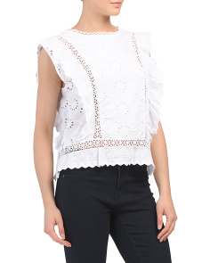 Made In Italy Eyelet Crochet Crop Top