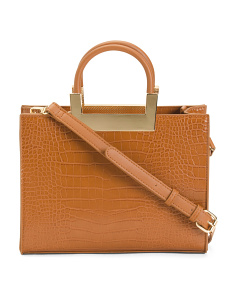 Croc Embossed Satchel With Contrast Handles