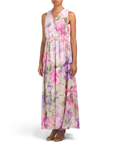 Printed Smocked Waist Maxi Dress