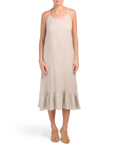 Made In Italy Linen Eyelet Hem Midi Dress