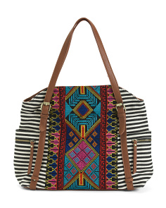 Large Stripe Tote With Embroidered Panel