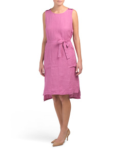 Made In Italy Self Tie Linen Dress