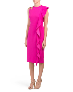 Cascade Front Crepe Dress