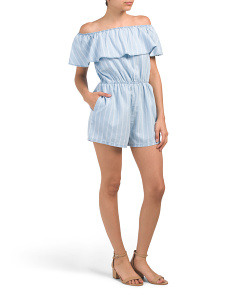 Juniors Off The Shoulder Chambray Romper