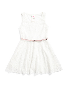 Big Girls Lace Belted Dress