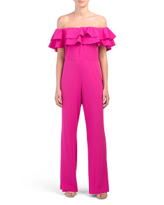 Off The Shoulder Ruffle Crepe Jumpsuit