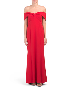 Off The Shoulder Crepe Gown