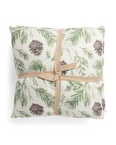 2pk 20x20 Faux Linen Pinecone Pillows