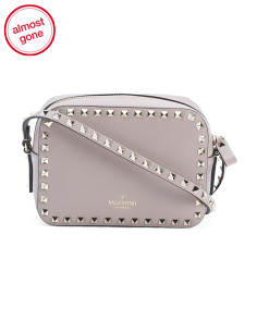 Made In Italy Leather Studded Camera Crossbody