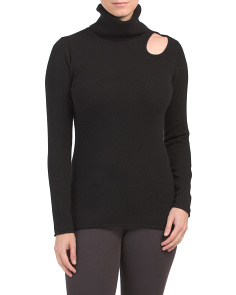 Cashmere Cut Out Turtleneck Sweater