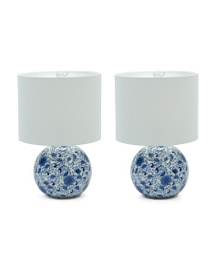 Set Of 2 Round Chinoserie Lamps
