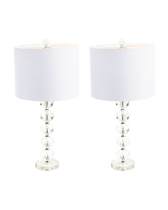 Set Of 2 Stacked Crystal Lamps