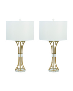 Set Of 2 Wire Metal Lamps