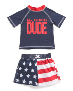 Infant Boys 2pc Americana Rash Set