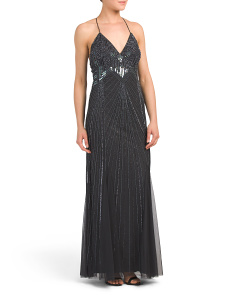 Spaghetti Strap Beaded Gown