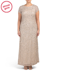 Plus All Over Sequin Cap Sleeve Gown