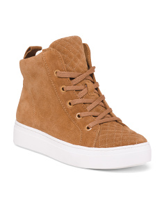 Suede High Top Lace Up Sneakers