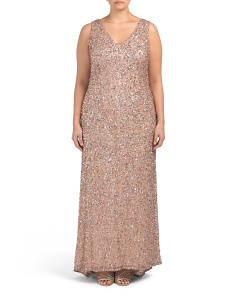 Plus V-neck All Over Beaded Gown