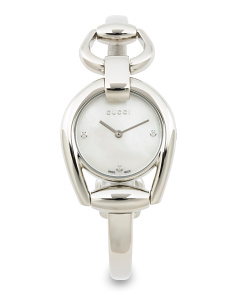 Women's Swiss Made Diamond Accent Horsebit Bangle Watch