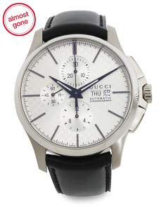 Men's Swiss Made Automatic Chrono Leather Strap Watch