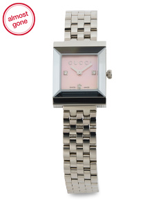 Women's Swiss Made Diamond Accent G Frame Bracelet Watch
