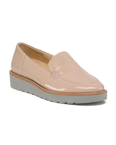 Patent Leather Lug Sole Slip On Loafers