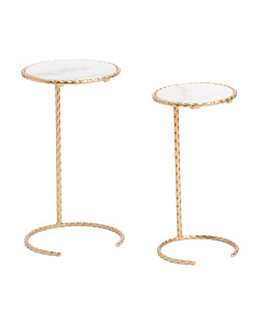 Set Of 2 Marble Top Tables