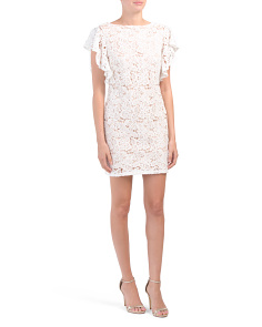 Petite Lace Flutter Sleeve Dress