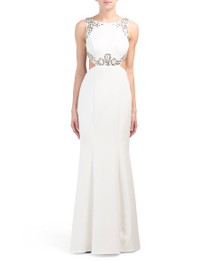 Embellished Gown With Back Cut Out