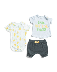 Newborn Boy 3pc But First Snacks Short Set