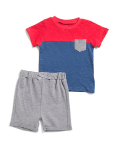 Infant Boys 2pc Color Block Short Set