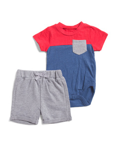 Newborn Boys 2pc Color Block Short Set