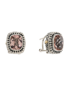 Handcrafted In Bali 18k Gold And  925 Morganite Earrings
