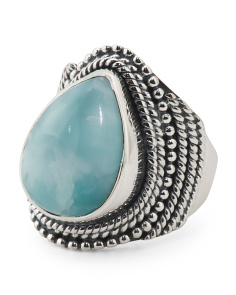 Handcrafted In Bali Sterling Silver Larimar Pear Ring