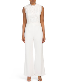 Lace And Crepe Sleeveless Jumpsuit