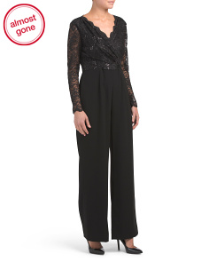 Lace Bodice Jumpsuit With Crepe Pants