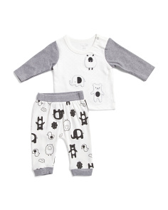 Newborn Boy 2pc Animal Friends Pants Set
