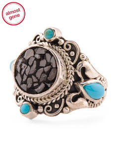 Handcrafted In Bali 925 Silver Turquoise  Black Diamond Ring
