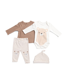 Newborn Boy 4pc Bear Pant Set With Hat
