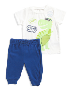 Newborn Boys 2pc Dino Top And Pants Set
