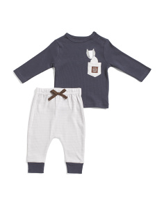 Newborn Boys 2pc Little Fox Pant Set
