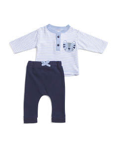 Newborn Boys 2pc Tiger And Stripes Pants Set