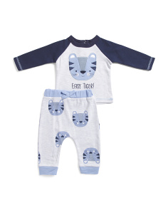 Newborn Boys 2 Piece Tiger Pant Set
