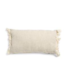 14x26 Linen Look Textured Fringe Pillow