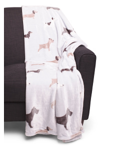 Oversized Dog Printed Throw