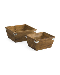 Set Of 2 Natural Finish Wooden Boxes