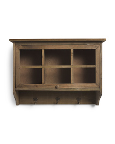 Wood Rectangle Wall Shelf With Glass Door