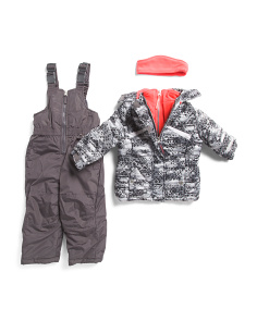 Little Girls Deluxe Snowsuit With Bib And Ear Warmer