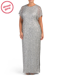 Plus Sequin And Beaded Gown