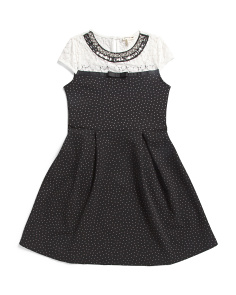 Big Girls Lace Trim Jewel Neck Dress